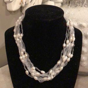 Jewelry - Multi-strand White FreshwaterPearl, organza ribbon